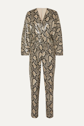 Stand Studio - + Pernille Teisbaek Amiya Snake-effect Faux Leather Jumpsuit - Gray