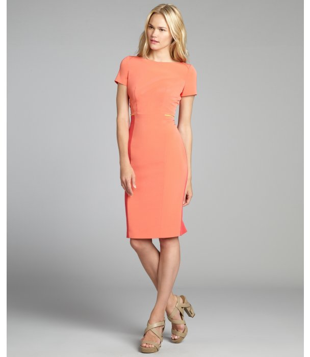 Elie Tahari peach freeze and painted 'Layla' neon trim short sleeve dress