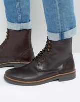 Frank Wright Lace Up Boot In Brown Leather