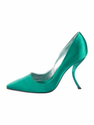 Roger Vivier Satin Square-Toe Pumps green