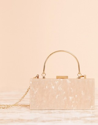 Asos DESIGN Luxe marble clutch bag with metal handle