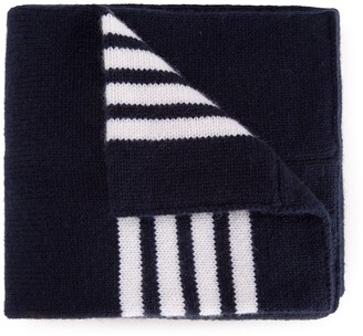 Thom Browne Kids Baby Scarf With White 4-Bar Stripe In Navy Cashmere