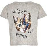 River Island Girls grey sequin cat face t-shirt