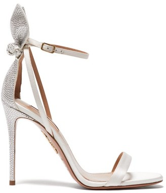 Aquazzura Bow Tie 105 Crystal-embellished Satin Sandals - White
