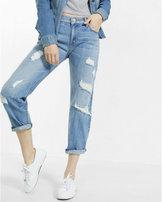 Express distressed rigid boyfriend jeans