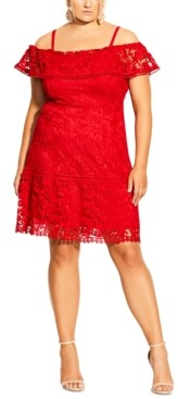 City Chic Trendy Plus Size Embroidered-Lace Off-The-Shoulder Dress