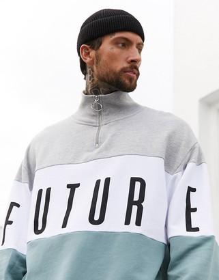 Asos DESIGN x Dark Future oversized funnel neck sweatshirt with logo