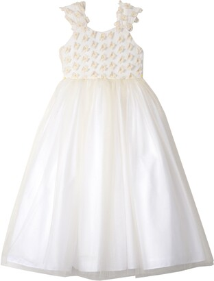 Badgley Mischka 3D Flower Tulle Dress