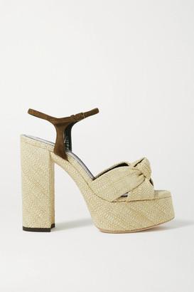 Saint Laurent Bianca Suede-trimmed Raffia Platform Sandals - Beige
