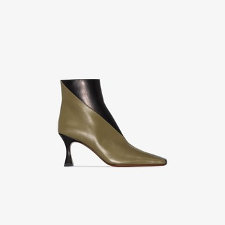 MANU Atelier black and khaki Duck 80 leather ankle boots