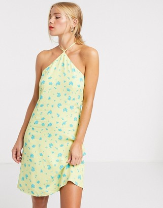 Glamorous halterneck mini dress in bright ditsy floral