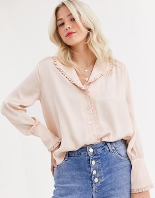 Asos Design DESIGN long sleeve blouse with frill collar detail-No Colour