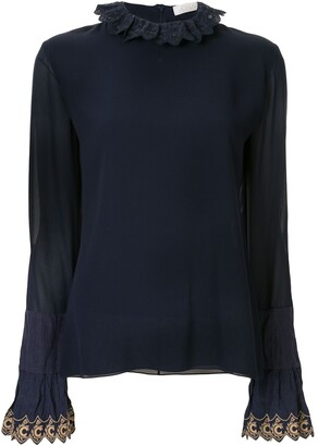 Chloé embroidered trim blouse