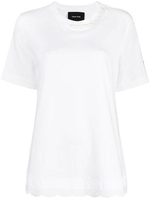 Simone Rocha embroidered-hem cotton T-shirt
