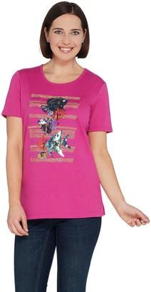 Factory Quacker Summer Splash Embellished Short Sleeve Knit T-Shirt