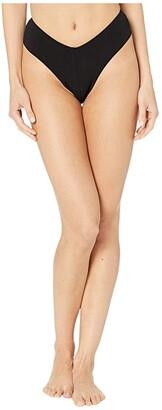 Robin Piccone Ava High Leg Bottoms (Black) Women's Swimwear