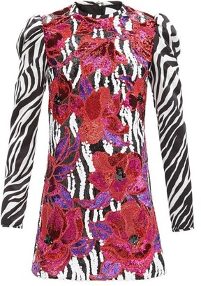 Halpern Floral-sequinned Zebra-print Satin Mini Dress - Black White Multi