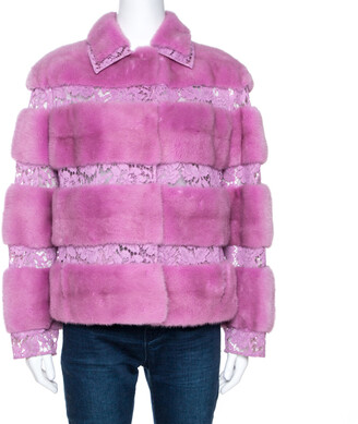 Valentino Lavender Mink Fur Lace Panelled Jacket S