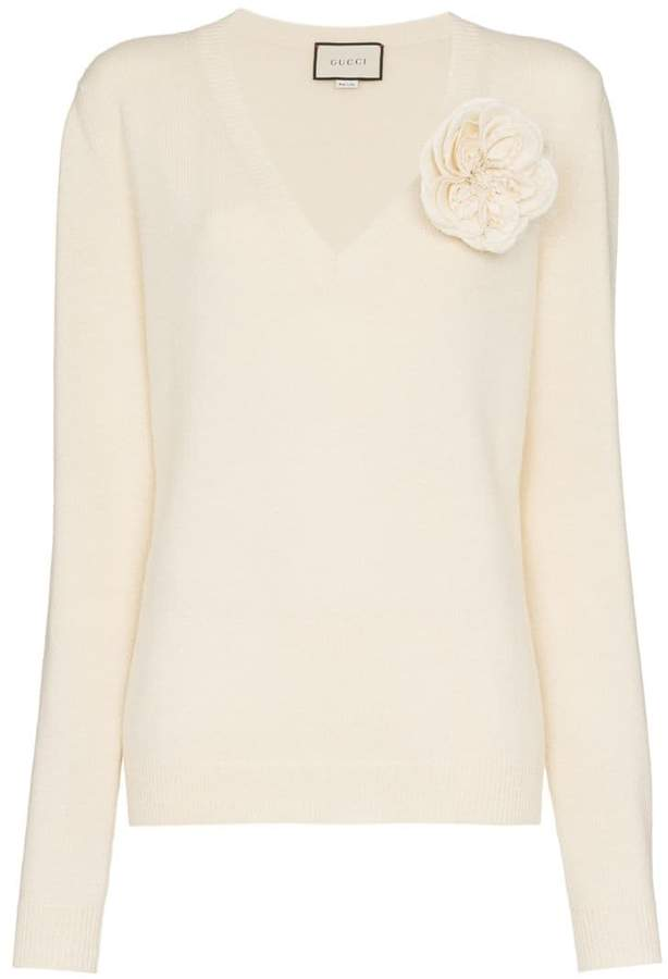 Gucci Flower Appliqué Cashmere Sweater