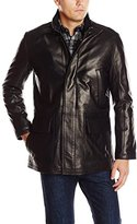 Cole Haan Men's Smooth Leather Car Coat