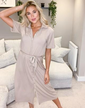 ASOS DESIGN midi button through shirt dress in camel