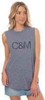 Camilla And Marc New Women's Lush Logo Tank Crew Neck Cotton Linen Blue