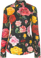 Dolce & Gabbana rose print fitted shirt