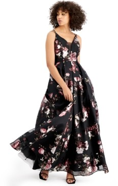 Crystal Doll Juniors' Metallic Floral-Print Ball Gown