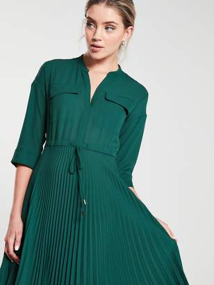 Whistles Wendy Pleat Shirt Dress - Green