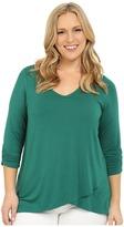 Karen Kane Plus Plus Size Ruched Sleeve Asymmetrical Hem Top