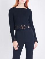 3.1 Phillip Lim Ladies Black Ribbed Soft Lace-Trim Ribbed-Knit Top