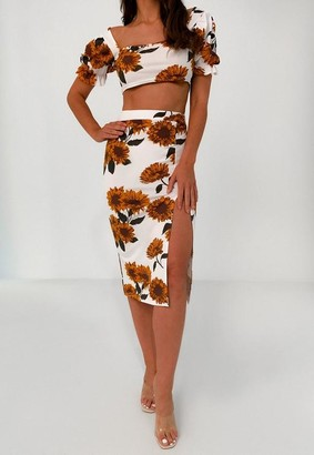Missguided White Floral Milkmaid Top And Midi Skirt Co Ord Set
