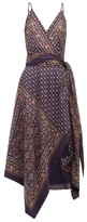 Jonathan Simkhai Geometric-print Satin-twill Wrap Dress - Womens - Navy Multi
