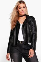 boohoo Plus Lily Biker Collar Faux leather Jacket black