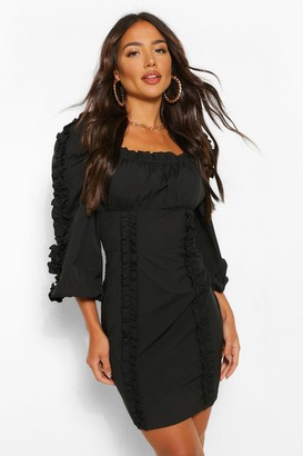 boohoo Ruffle Detail Long Sleeve Mini Dress