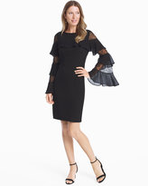 White House Black Market Ruffle Lace Black Shift Dress