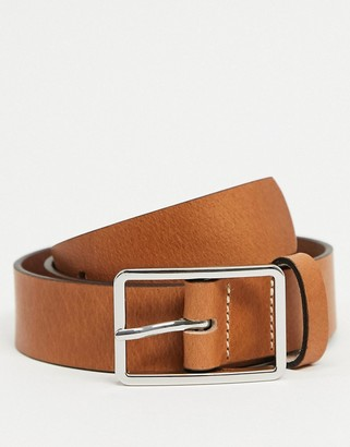 ASOS DESIGN leather slim belt in tan with box buckle