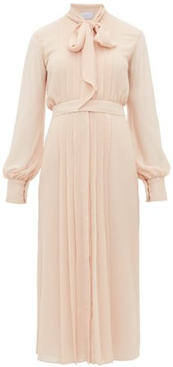 Luisa Beccaria Pussybow Pleated Chiffon Dress - Light Pink