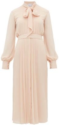 Luisa Beccaria Pussybow Pleated Chiffon Dress - Womens - Light Pink