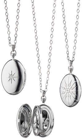 Monica Rich Kosann Sterling Silver Starburst Locket Necklace with White Sapphires