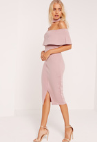 Missguided Choker Neck Zip Back Bardot Midi Dress Pink