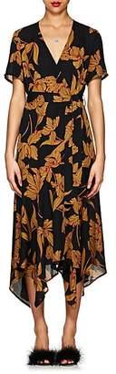 A.L.C. Women's Cora Floral Silk Wrap Dress - Black