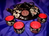 Ascension777 FEN153 Feng Shui Chinese Teapot & 4 Cups/Bowls Longevity & Good Health