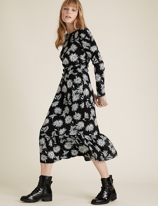 Marks and Spencer Floral Puff Sleeve Midi Waisted Dress