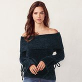 Lauren Conrad Women's Ribbed Off-the-Shoulder Chenille Sweater
