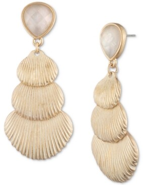 lonna & lilly Gold-Tone Shell & Stone Linear Drop Earrings