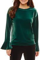 WORTHINGTON Worthington Long Sleeve Sweatshirt-Petites