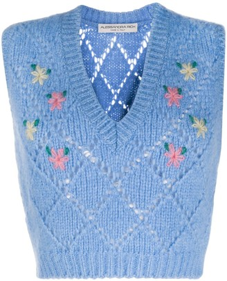 Alessandra Rich Floral Embroidered Sweater Vest