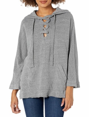 Monrow Women's Hooded Lace Up Poncho