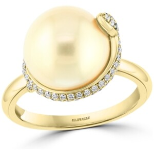 Effy Diamond (3/8 ct. t.w.) & Cultured Freshwater Pearl (12mm) Snake Statement Ring In 14k Gold